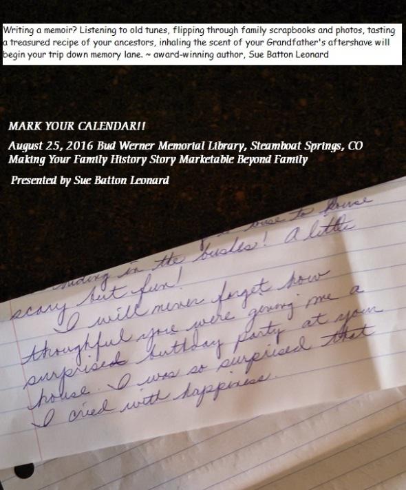 #33 Author Adage - Emotive Memoir Writing Notice for BWML Presentation