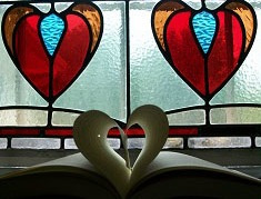 stained glass heart and book