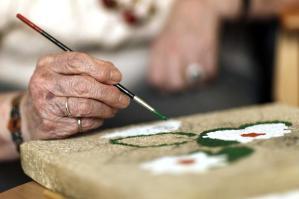 elderly painting