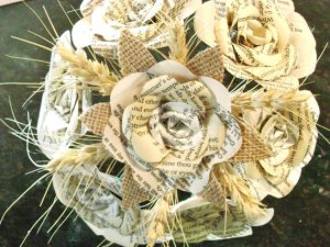bridal bouquet with book pages