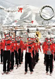marching band on skis in steamboat
