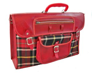 red plaid bookbag 1950s