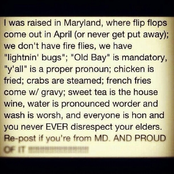 Raised in Maryland
