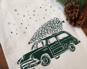 christmas woodie car