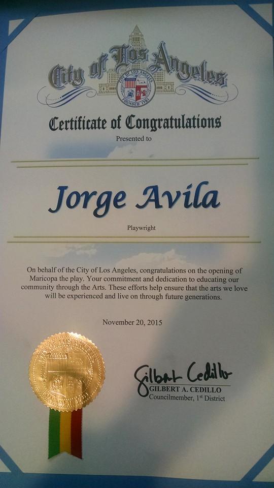 Avilas certificate from City of LA