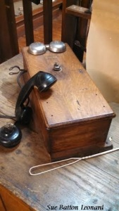 crank telephone wooden with 2 bells signed