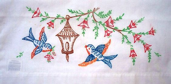 blue birds pillowcase