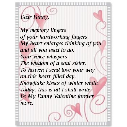 free valentines stationary with Fanny Valentines poem