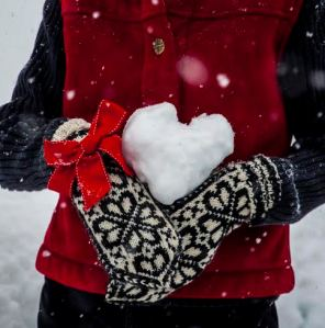 Sue with snowball heart close up